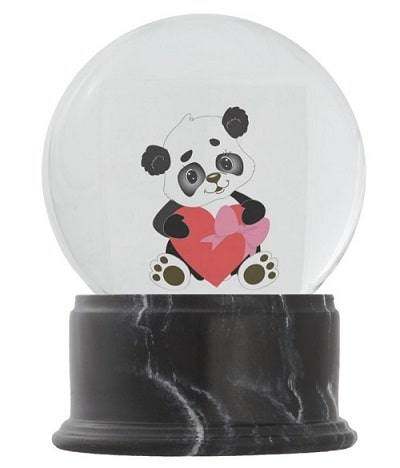 I love You Baby Panda Bear with Big Red Heart Snow Globe