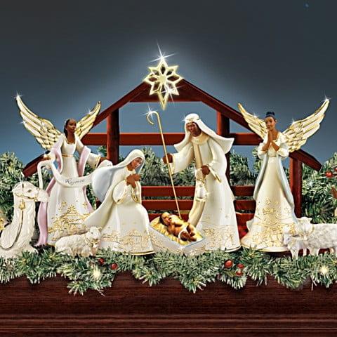 """Joyful Blessings"" Illuminated African American Nativity Garland Collection"