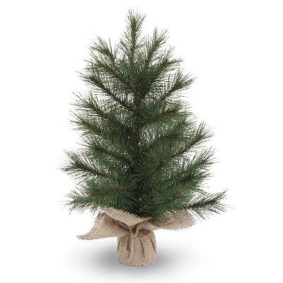 Lodge Faux Pine Christmas Tree in Burlap Base