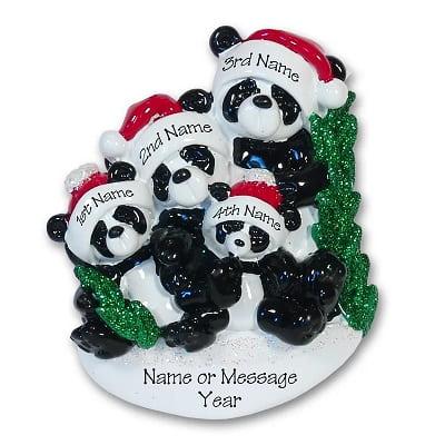 Panda Bear Family Personalized Christmas Ornament