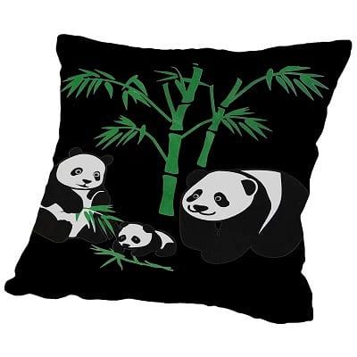 Panda Bear Family with Bamboo Throw Pillow