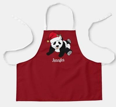 Panda Bear Personalized Kids Christmas Apron