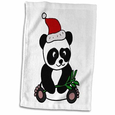 Panda Bear With Christmas Hat Tea Towel