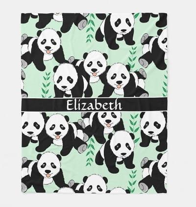 Panda Bears Graphic Personalized Larger Fleece Blanket