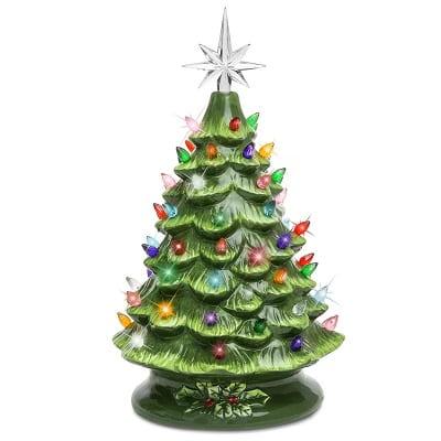 Pre-Lit Hand-Painted Ceramic Tabletop Christmas Tree