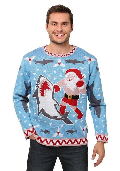Santa vs Shark Ugly Christmas Sweater