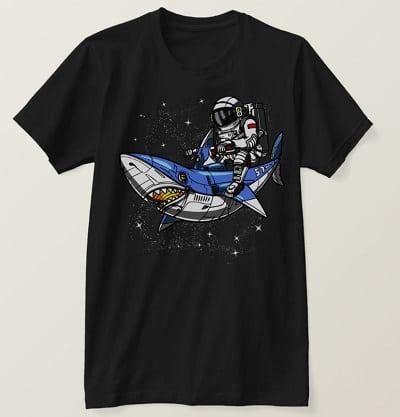 Space Astronaut Riding Cosmic Shark Galaxy T-Shirt