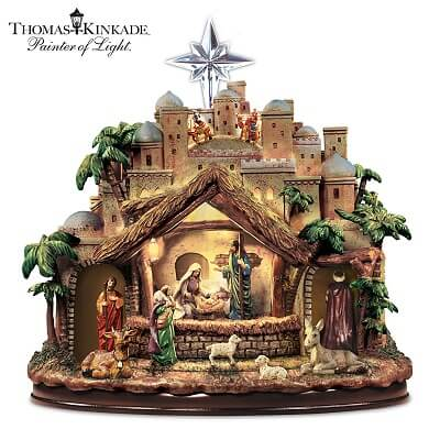 Thomas Kinkade Musical Christmas Nativity Set With Motion And Lights