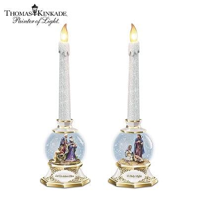 Thomas Kinkade Nativity Snow Globe Flameless Candles