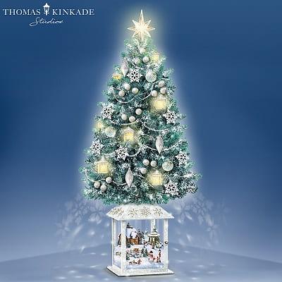 Thomas Kinkade Tabletop Christmas Tree With Swirling Snowflake Lights