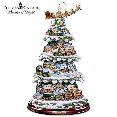 Thomas Kinkade Tabletop Tree With Lights, Moving Train, Music