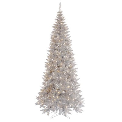 10ft. Artificial Silver Christmas Tree with 900 Clear White Lights