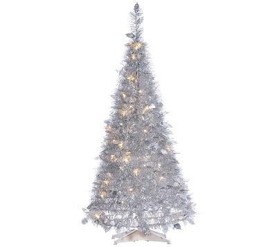 4-Foot Pop Up Pre-Lit Silver Christmas Tree