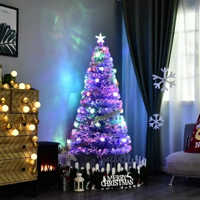 5ft. Blue White Fir Artificial Christmas Tree with 280 LED Multi-Colored Lights