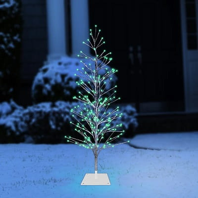 5ft. Silver Cedar Artificial Christmas Tree with 180 Green Lights