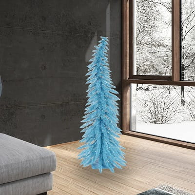 5ft. Sky Blue Whimsical Artificial Christmas Tree with 100 Teal Lights