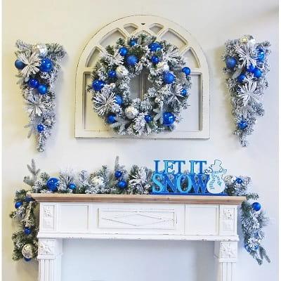6' Flocked Ornaments Christmas Garland