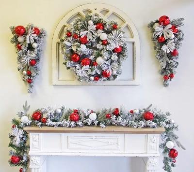6' Flocked Ornaments Garland