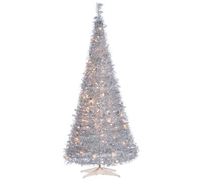 6-Foot High Pop Up Pre-Lit Silver Christmas Tree