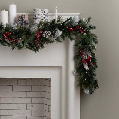 9' Berry Pre-Lit Christmas Garland with 70 Clear White Lights