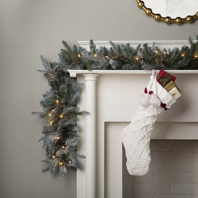 9' Frosted Arctic Pre-Lit Christmas Garland with 50 Clear White Lights
