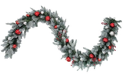 Classic 9'Pre-Lit Frosted Berry & Ornament Christmas Garland