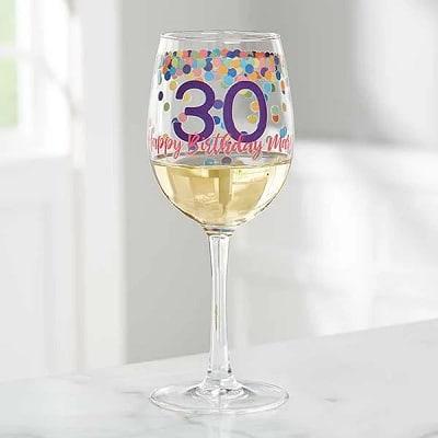 Confetti Cheers Personalized Birthday White Wine Glass
