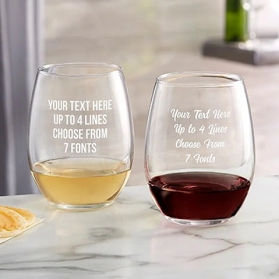 Custom Etched Stemless Wine Glass