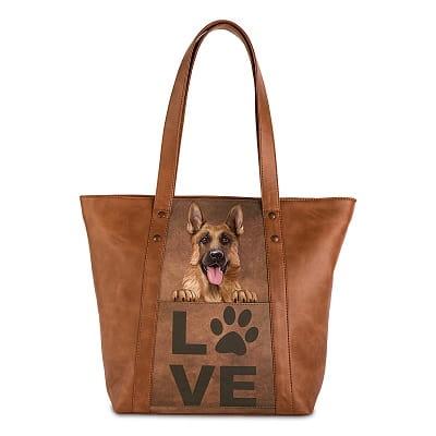 Faux Leather German Shepherd Tote Bag