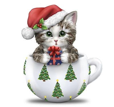 Kayomi Harai Deck The Paws Christmas Teacup Cat Figurine