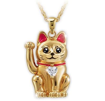 Maneki Neko-Inspired Lucky Cat Pendant