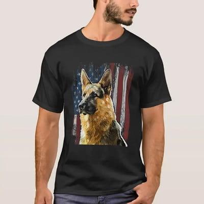 Patriotic German Shepherd American Flag T-Shirt