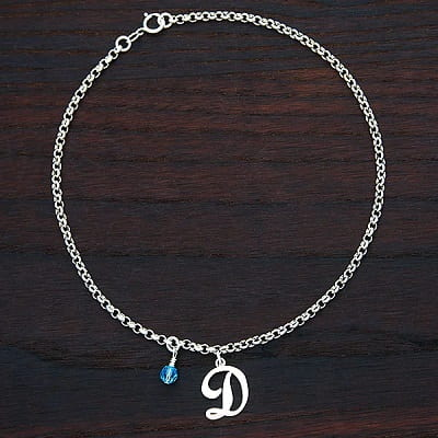 Personalized Birthstone and Initial Anklet - Gifts for Women In Their 30s