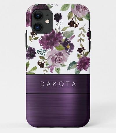 Purple Floral Monogram Case-Mate Phone Case