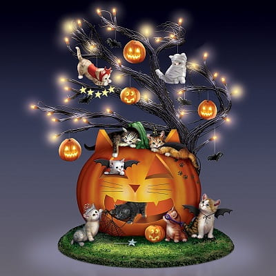 Purr-fectly Mischievous Halloween Illuminated Tabletop Tree