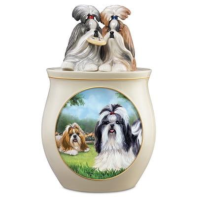 Shih Tzu Art Ceramic Cookie Jar with Sculpted Lid