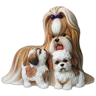 Shih Tzus Kisses Mother And Puppies Sculpture