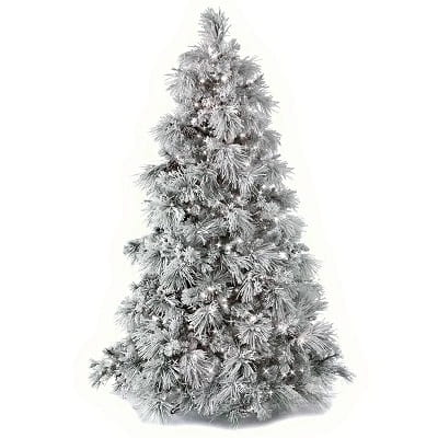 Silver Pine Artificial Christmas Tree with Clear White Lights
