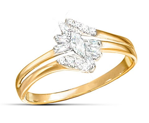 Solid 10K Gold Ring With 15 Diamonds