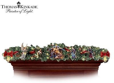 Thomas Kinkade Illuminated Nativity Story Christmas Garland