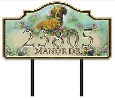 Warm Dachshund Welcome Personalized Address Sign