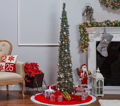 6ft. Pop-Up Pre-Lit Fully Decorated Narrow Green Tree