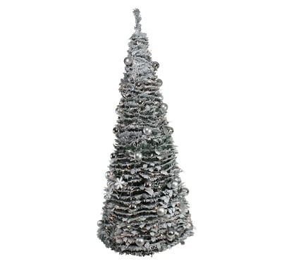 6ft. Pre-Lit Silver Tinsel Pop-Up Fully Decorated Christmas Tree