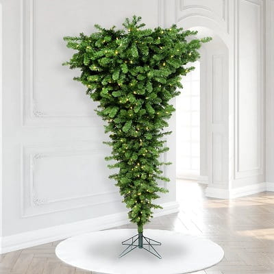 7.5ft. Upside Down Christmas Tree with 500 White Lights