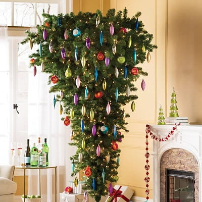 7.5ft. Upside Down Green Cypress Christmas Tree with 500 Clear Lights
