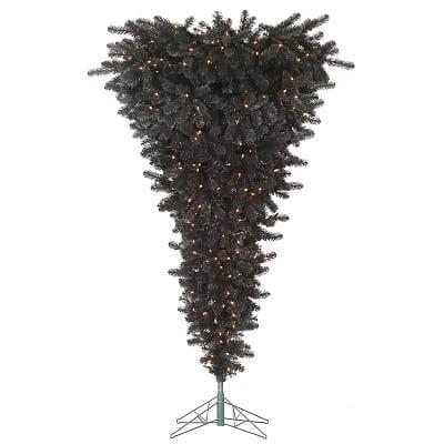 Black Upside Down Christmas Tree with 500 LED Lights