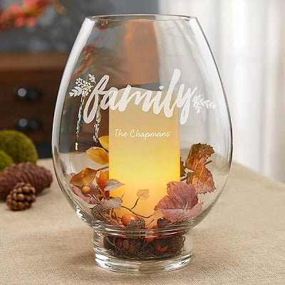 Cozy Home Engraved Hurricane Candle Holder