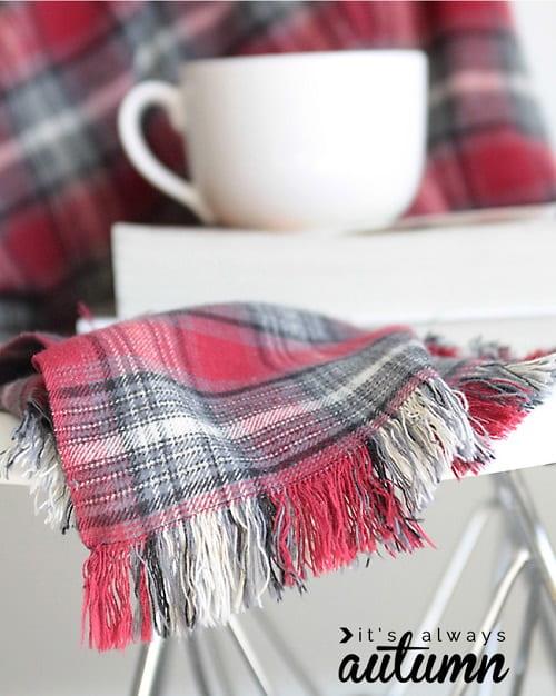 DIY Fringed Flannel Throw