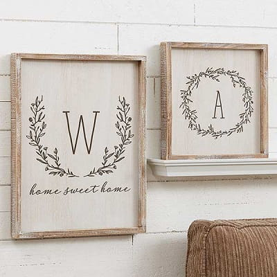 Farmhouse Floral Personalized Whitewashed Frame Wall Art