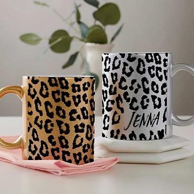 Personalized Leopard Print Coffee Mug